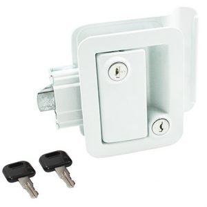 #013-571 - Metal Towable Entrance Lock w/keys, White