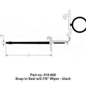 "#018-668 - Snap-in Seal, w/2-7/8"" wiper, 4-1/8"" x 23/32"" x 35'"