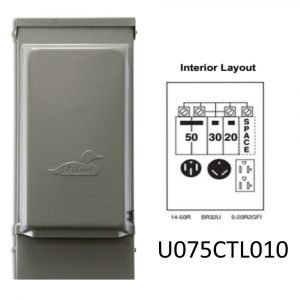 #U075CTL010 - 100AMP RV Power Outlet w/20A GFCI 2 Pole